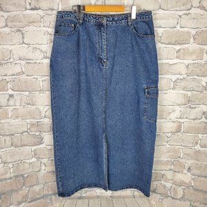 Vtg Long Maxi Denim Skirt Front Slit Cargo Sz 14